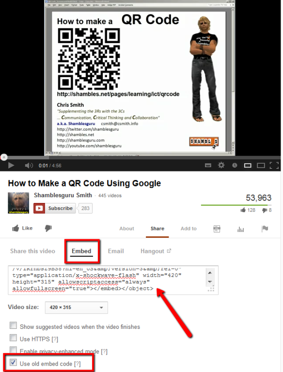 embedding YouTube: finding the embed code