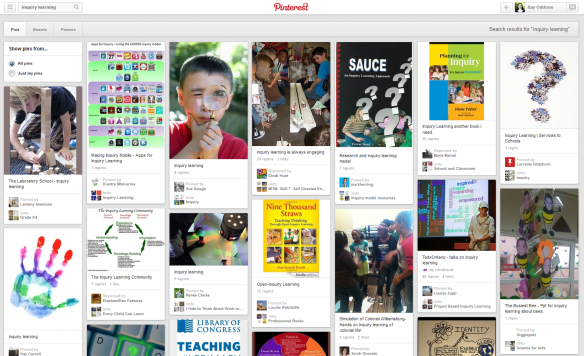 A typical Pinterest page