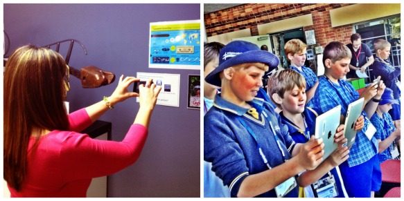 A staff member viewing Rick's video explanation using an iPod touch. Students using mobile devices to view the past and the future with Augmented Reality