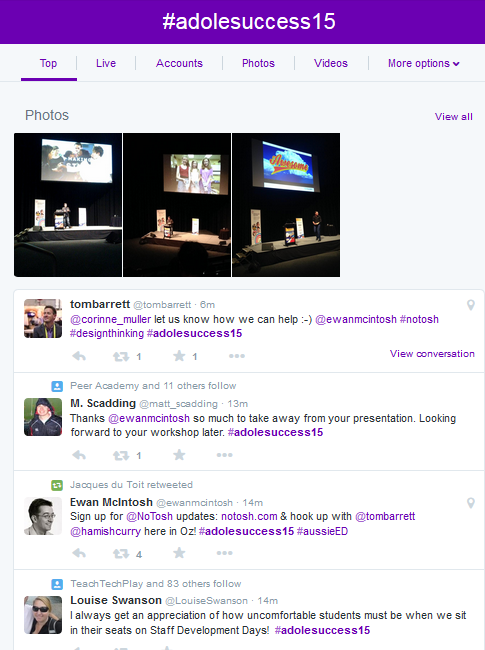 An example of a conference back-channel; photos and tweets shared, connected by the conference hashtag #adolesuccess15